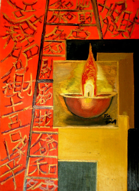 Flame of Life! Chinese symbol calligraphy lamp painting