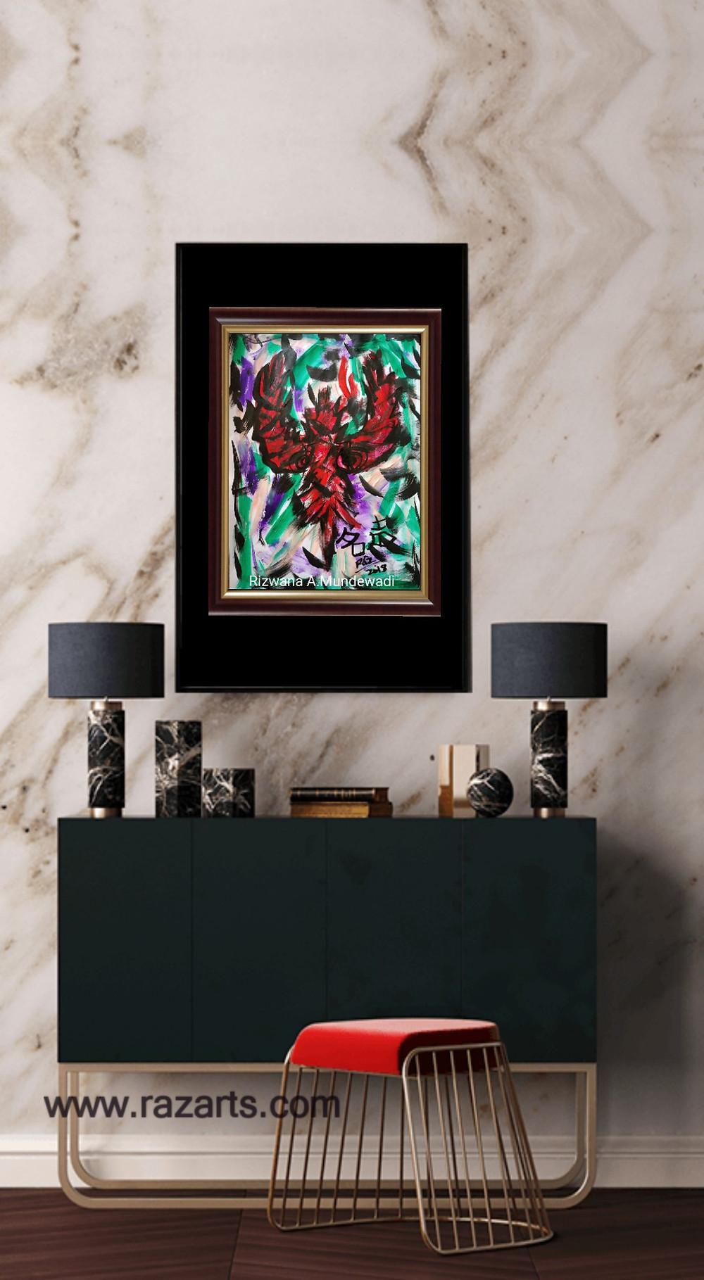 Phoenic Rising Feng shuii Reiki Amar Pakshi painting for sale
