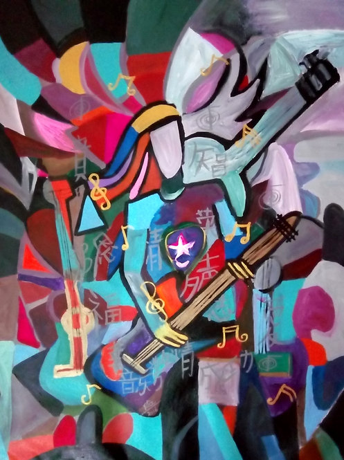 Play On! The Young Guitarist! Cubism Guitarist Painting