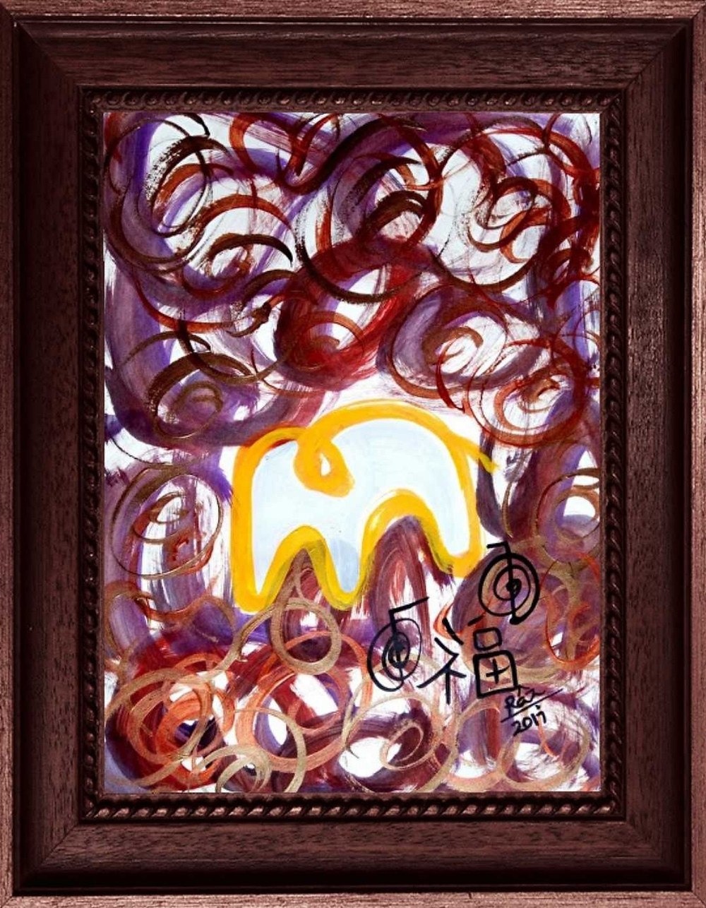 Modern Abstract Reiki Yellow Elephant painting