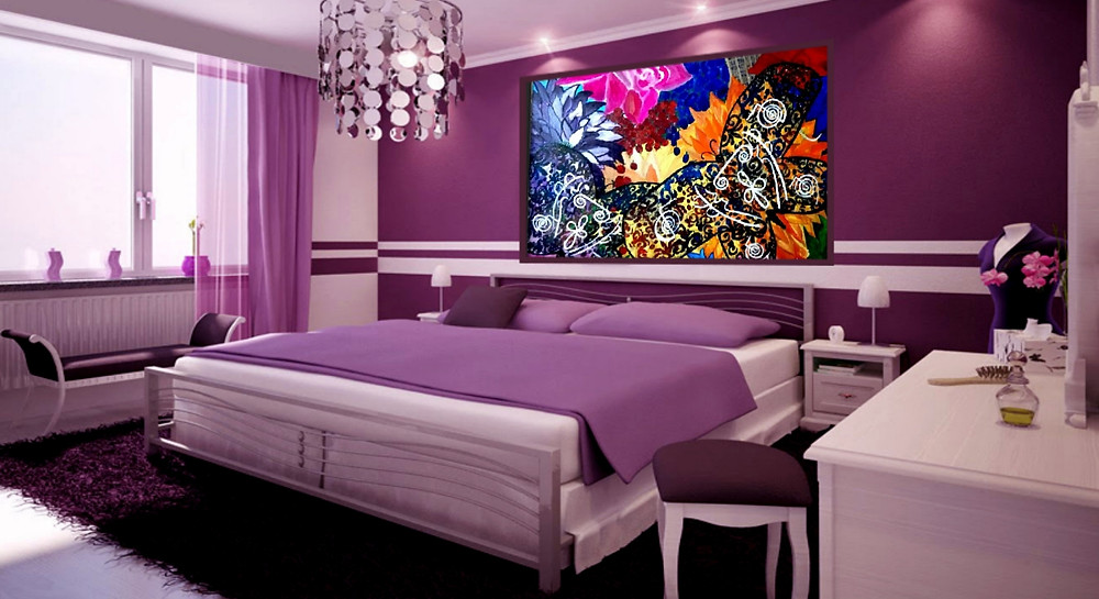 reiki flowers and butterflies painting for sale