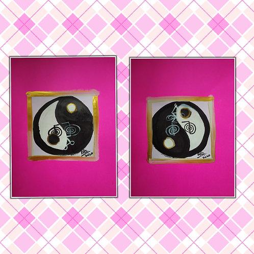 The Bold Yang! Best Couple! Tao symbol modern Reiki healing artwork
