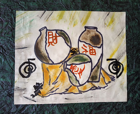 Three Pots of Happiness! A still life Chinese symbol Pots Reiki Painting
