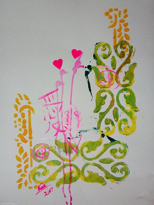 You and Me! Modern minimalist Chinese symbol Love healing art