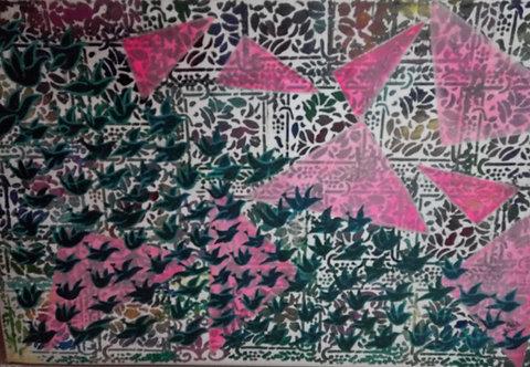 one hundred global friends! Flying hundred birds Feng shui artwork