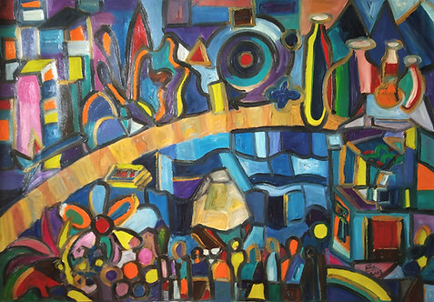 The Golden Road! Cubism large canvas painting