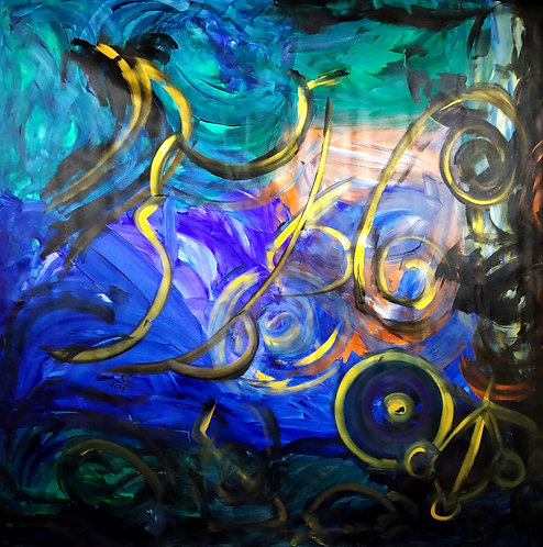 The Royal Ripple! large canvas Reiki symbol abstract healing painting
