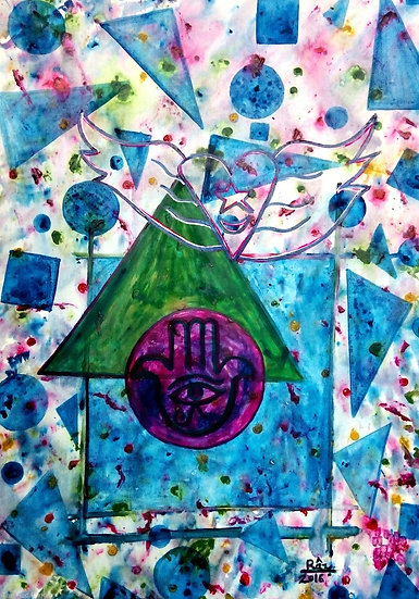 Home of Happiness! Sufi hand and winged Symbol geometry painting