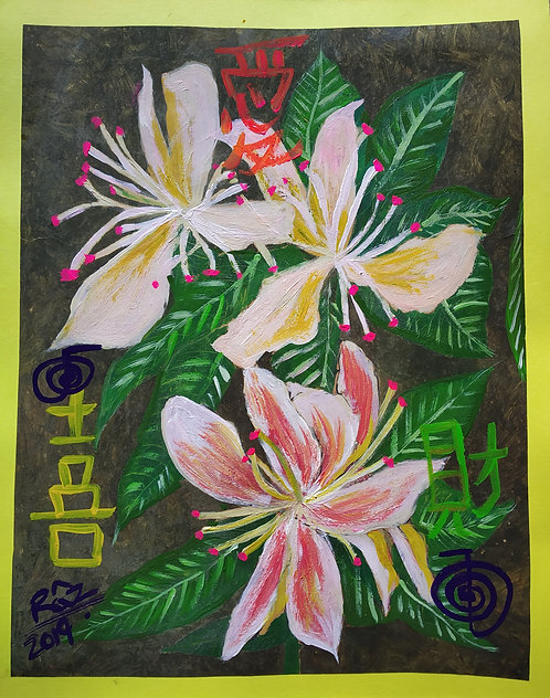 Three White Lilies of Love Happiness and Wealth