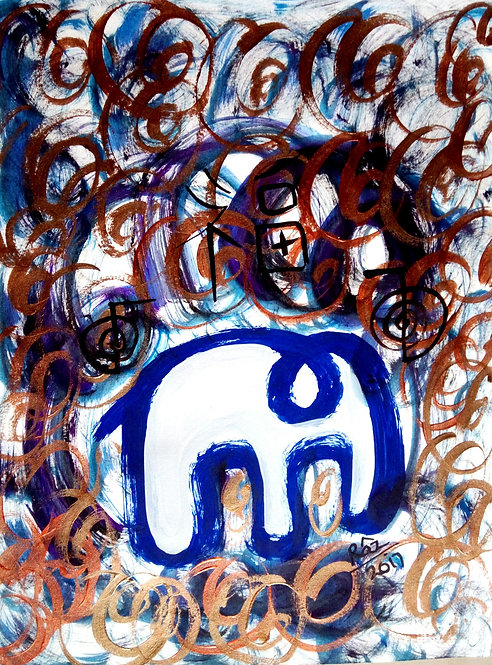 Grandeur The Modern Airavaat! French Ultramarine  Blue Reiki Elephant!