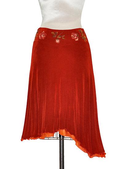 Mid Length Skirt Red Orange