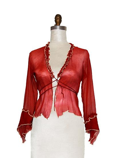 Bolero Red Silk Chiffon