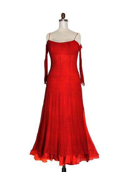 High Waist Long Red Dress