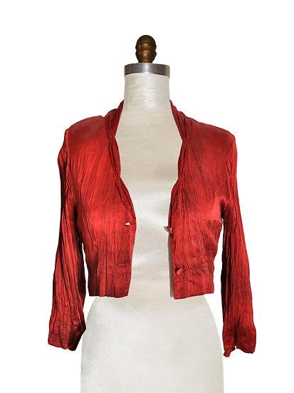 Short Jacket Silk Red