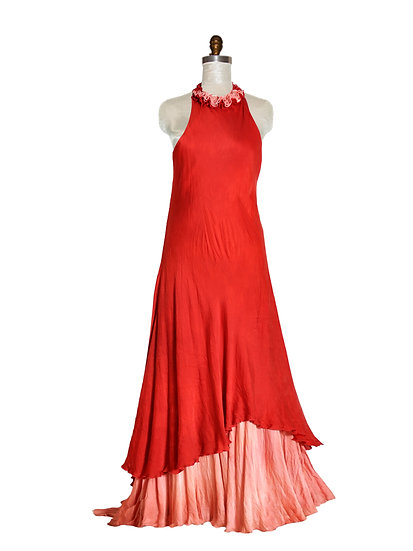 Long Red Dress Two Tiers