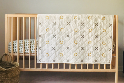 X's & O's Hand Blocked Baby Quilt