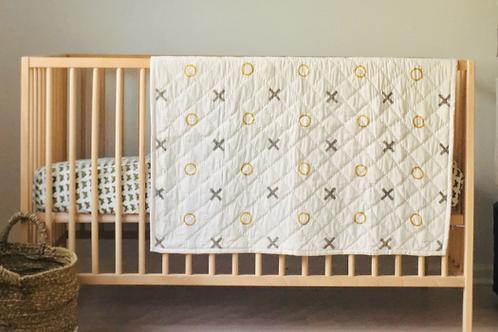 Organic Hand Blocked X's & O's Baby Quilt