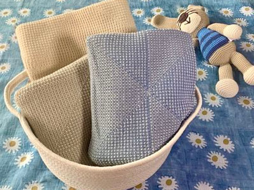 Organic Cotton & Alpaca Textured Baby Blanket