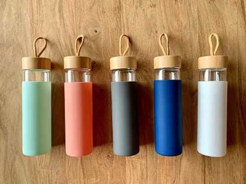 Wide Mouth Glass Water Bottle with Silicone Sleeve