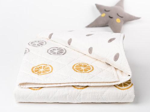 Organic Hand Blocked Lemons & Dots Baby Quilt