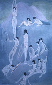 Figures in pale blue