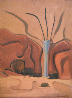 Blue Vase Against Brown Red 1909