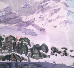 1910 Snowy Mountains with Rocks