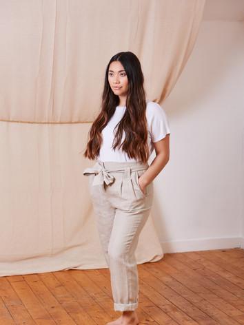 High waist hemp trousers