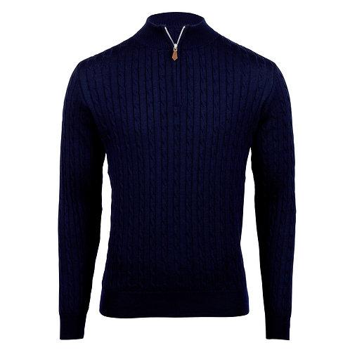 STENSTROMS - Pull demi-zip torsadé bleu marine en mérinos
