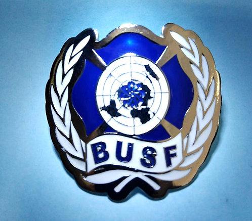 Escudo de armas BUSF em metal prata