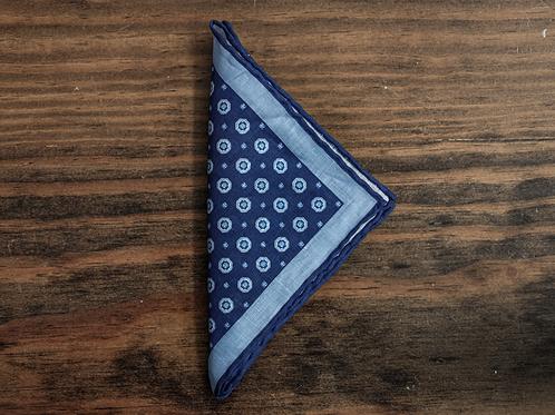 Blue Medallion Pocket Square