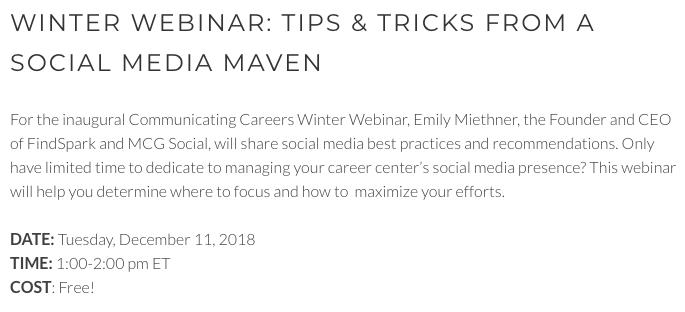 Webinar Slides for Communicating Careers: Tips from a Social Media Maven