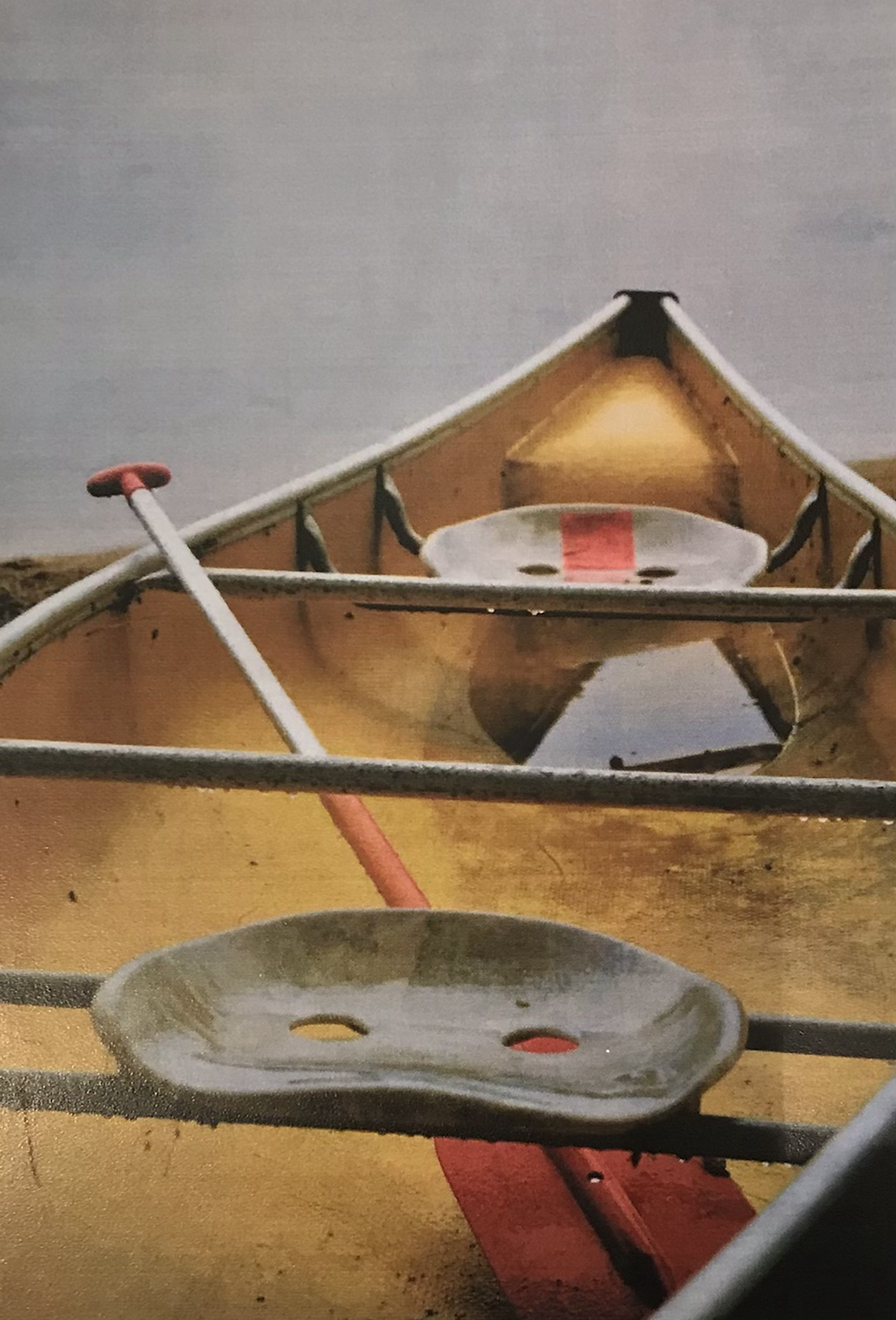 Original photo by Ancient Doors Designs of a yellow canoe on the beach
