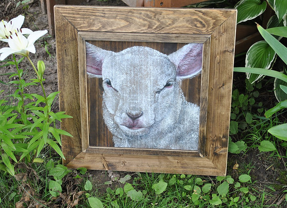 Purely Sheep, Print from original, Double Miter Frame, 18x18