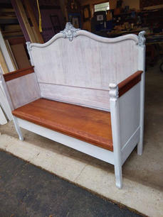 Whitewash Headboard Bench