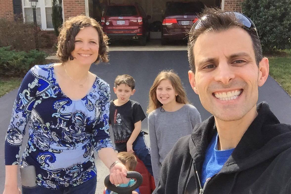 The adorable Mehltetter family out casing Amyclae for petition signatures