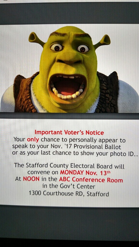 Press release from Stafford County Registrar concerning absentee ballots