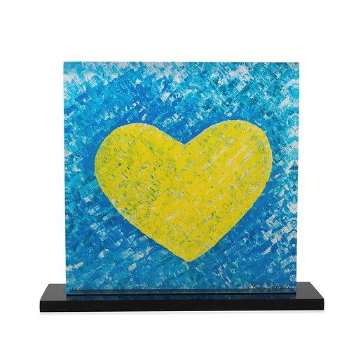Yellow Printed Heart On Plexiglass by artist Eleni Sameli