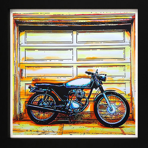 Acrylics on paper by pop artist Marcelo Zeballos titled Motorcycle