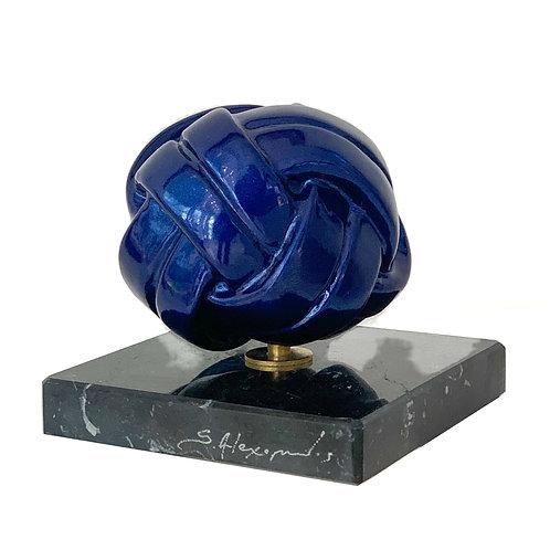 Metallic Blue Resin Sculpture Front View