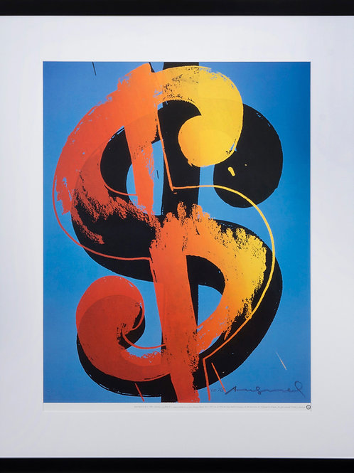 offset lithograph titled Dollar in wooden black frame by artist Andy Warhol