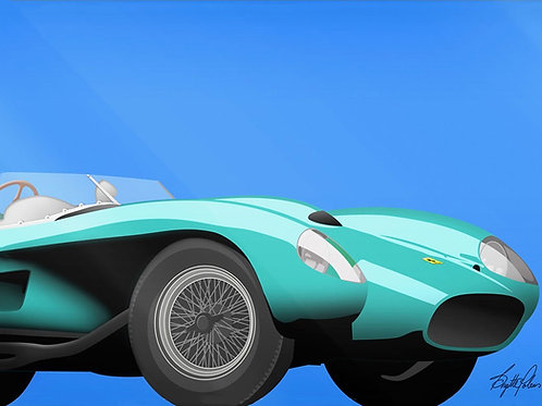 Brigitte's Polemis art print on plexiglass titled Mint Ferrari, from the Classic Cars series.