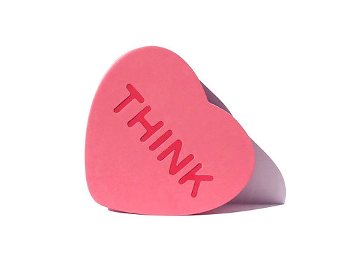 Pink hand made silicone and resin Sculpture in heart shape by artist Brigitte Polemis titled Think
