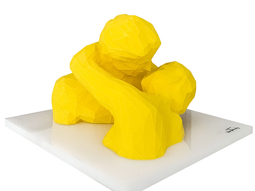 Yellow 3D Sculpture titled Kiss by artist Antonis Kiourktsis