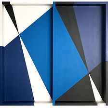 opy zouni blue painting on wood