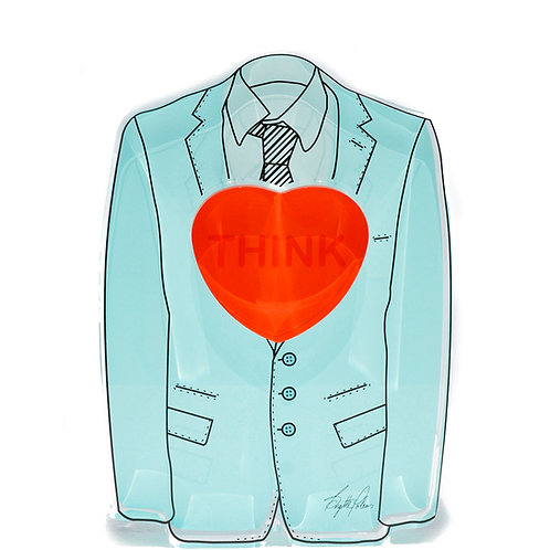 Turquoise Suit Sculpture With Heart by artist Brigitte Polemis Front View