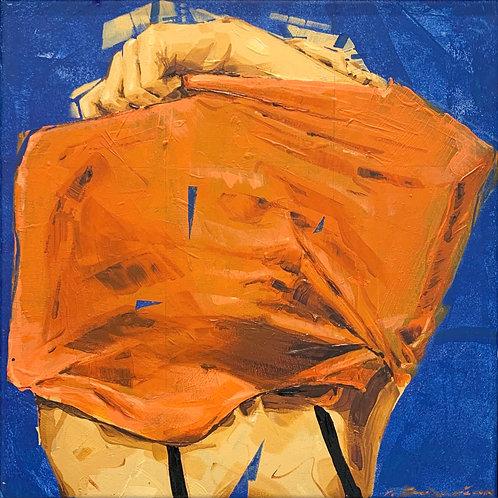 Blue and Orange Painting by visual artist John Valyrakis
