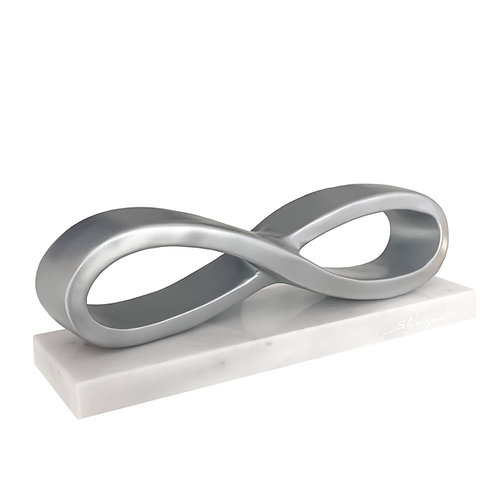 Silver resin sculpture titled Infinity by sculptor Stathis Alexopoulos