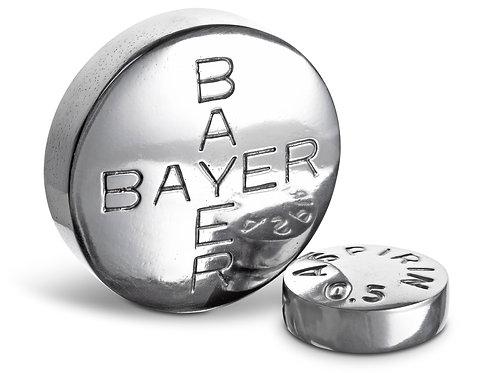 Bayer aspiring made of aluminum as paper weight sculpture by ceramic artist Christina Morali