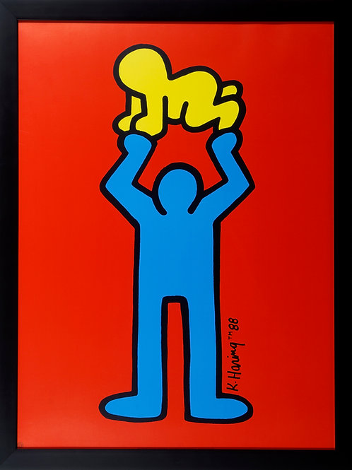 Man holding radiant baby - Keith Haring